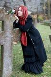 Het gotische meisje met nam toe Royalty-vrije Stock Foto