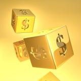 Het goud dobbelt Royalty-vrije Stock Fotografie