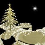 Het goud en de zwarte van de kerstkaartboom Stock Afbeelding