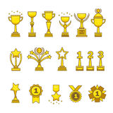 Het goud kent geplaatste koppenmedailles toe Stock Foto