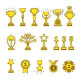 Het goud kent geplaatste koppenmedailles toe Royalty-vrije Stock Afbeelding
