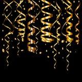 Het goud schittert achtergrond met fonkeling glanst lichte confettien royalty-vrije illustratie