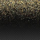 Het goud schittert dalende confettien op een donkere geruite achtergrond Gouden korrelige abstracte textuur Vector vector illustratie