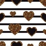 Het goud schittert hart naadloos patroon Symbool van liefde, Valentine-dagvakantie Ontwerpbehang, achtergrond, stoffentextuur royalty-vrije illustratie