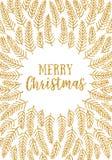 Het goud schittert Kerstkaart Stock Afbeelding