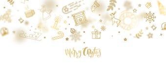 Het goud schittert Kerstmis het van letters voorzien ontwerp Stock Afbeelding