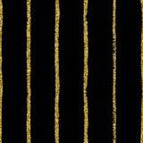 Het goud schittert Punt op zwarte gestreepte achtergrond De hand trekt stroken en stippen vector naadloos patroon stock illustratie