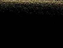 Het goud schittert textuur op een zwarte achtergrond Gouden explosie van confettien Gouden abstracte textuur op een zwarte achter Stock Fotografie