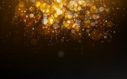 Het goud speelt dalende confettien, stof, het gloeien gli van de deeltjesverspreiding mee royalty-vrije illustratie