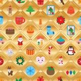 Het goud van de diamantvorm binnen het naadloze patroon van de Kerstmisdag vector illustratie