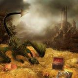 Het goud van de draak royalty-vrije illustratie