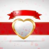 Het goud van de liefdekaart met lint royalty-vrije illustratie