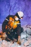 Het goud van de mijnwerkers ondergrondse mijnbouw Stock Foto's