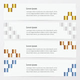 Het goud van de pixelbanner, brons, zilveren, blauwe kleur Royalty-vrije Stock Fotografie