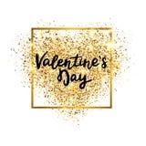 Het goud van de valentijnskaartendag schittert hart met het gloeiende kader en hand van letters voorzien Luxeachtergrond voor gro vector illustratie