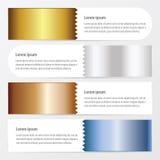 Het goud van de Zigzaxbanner, brons, zilveren, blauwe kleur Stock Foto's