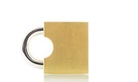 Het goud van het metaalhangslot isoleert Royalty-vrije Stock Afbeeldingen