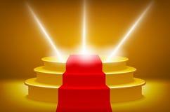 Het goud verlichtte stadiumpodium voor de vectorillustratie van de toekenningsceremonie, rood tapijtspoor vector illustratie