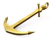 Het gouden 3d Anker, geeft op witte achtergrond geïsoleerdd terug Royalty-vrije Illustratie