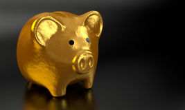 Het gouden 3D Spaarvarken geeft 008 terug Royalty-vrije Stock Fotografie