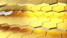 Het gouden abstracte 3D Teruggeven als achtergrond Stock Foto