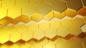 Het gouden abstracte 3D Teruggeven als achtergrond Stock Afbeelding