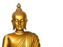 Het gouden antieke standbeeld van Boedha op de witte achtergrond geïsoleerde achtergrond Het gezicht van Boedha is Recht gezicht  royalty-vrije stock foto's