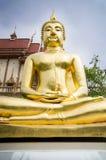 Het gouden beeld van Boedha in tempel, Thailand Stock Foto