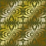Het gouden behang van het damastpatroon Stock Afbeelding