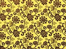 Het gouden behang van het rozenpatroon Stock Afbeeldingen