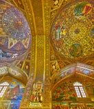 Het gouden binnenland van Vank-Kathedraal in Isphahan, Iran Stock Afbeelding