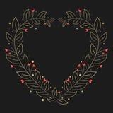 Het gouden bloemenontwerp van het hartkader Stock Afbeeldingen
