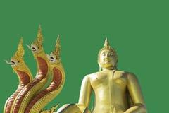 Het gouden Boeddhisme van Boedha op een Groene achtergrond stock afbeelding