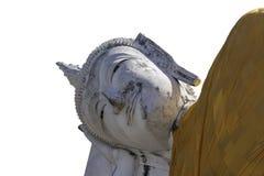 Het gouden Boeddhisme van Boedha op een wit achtergrond of een behang royalty-vrije stock afbeeldingen