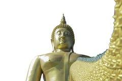 Het gouden Boeddhisme van Boedha op een wit achtergrond of een behang stock afbeelding