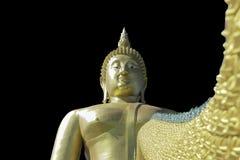 Het gouden Boeddhisme van Boedha op een Zwarte achtergrond royalty-vrije stock fotografie