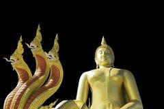 Het gouden Boeddhisme van Boedha op een Zwarte achtergrond royalty-vrije stock foto
