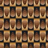 Het gouden bruine blauwe naadloze patroon van de bladsymmetrie royalty-vrije illustratie