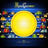 Het gouden cirkelkader op blauwe Kerstmisachtergrond met gouden sterren en stelt voor Stock Afbeelding