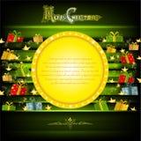 Het gouden cirkelkader op groene Kerstmisachtergrond met gouden sterren en stelt voor Stock Afbeeldingen