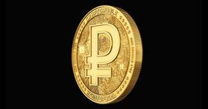 Het gouden Cryptoruble-muntstuk spinnen in perfecte die lijn op zwarte achtergrond wordt geïsoleerd 4K video het 3d teruggeven stock video