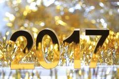 Het gouden 3d digitale pictogram van 2017 Stock Foto's