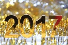 Het gouden 3d pictogram van 2017 Stock Foto