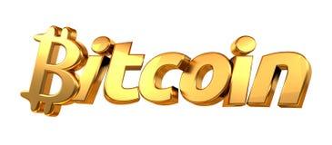 Het gouden 3d teruggeven Bitcoin isoleerde gewaagde brieven Royalty-vrije Stock Fotografie