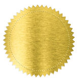 Het gouden die etiket van de de stickerverbinding van de metaalfolie wordt geïsoleerd met Stock Afbeeldingen