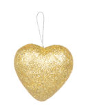 Het gouden die hart van de Kerstmisdecoratie op wit wordt geïsoleerd Stock Afbeeldingen