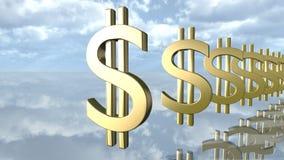 Het gouden dollargeld ondertekent op een rij het 3d teruggeven Stock Foto
