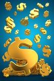 Het gouden dollars vallen Stock Foto
