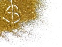 Het gouden dollarteken van schittert fonkeling op witte achtergrond Stock Foto's