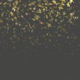 Het gouden effect van het de regen feestelijke patroon van sterconfettien Gouden volumesterren die onderaan geïsoleerd op achterg stock illustratie